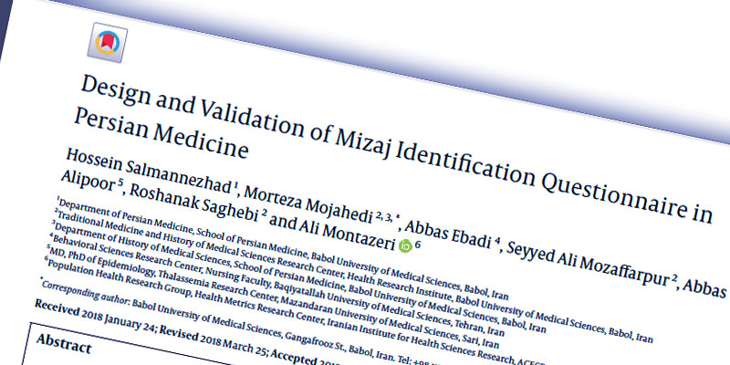 Design and Validation of Mizaj Identification Questionnaire in Persian Medicine