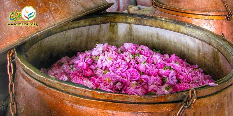 بررسي اثر روش تقطیر بر ميزان استخراج تركيبهاي مهم موجود در گلاب